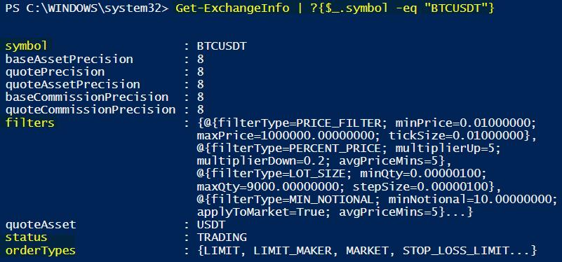 Example 1 Get-ExchangeInfo Using API Binance PowerShell